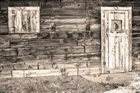 Sepia Rustic Old Colorado Barn Door and Window