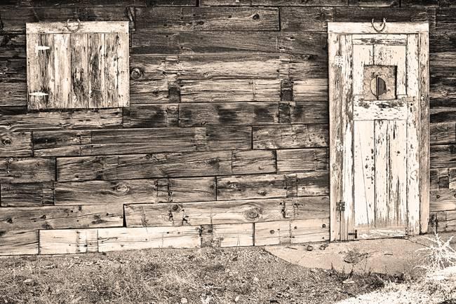 Sepia Rustic Old Colorado Barn Door and Window