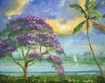 Jacaranda and Palm Tree by Mazz Original Paintings