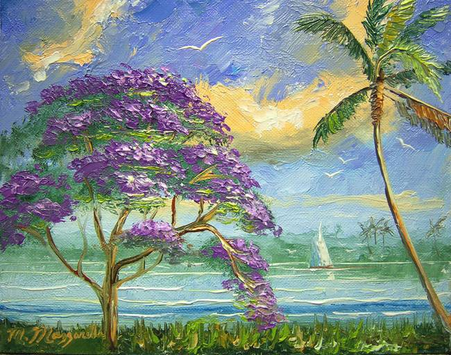 Jacaranda and Palm Tree