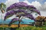 Jacaranda Beach Shack by Mazz Original Paintings