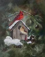 Cardinals on Snow Covered Birdhouse