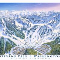 """Stevens Pass Resort, Washington"" by jamesniehuesmaps"