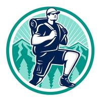 Hiker Hiking Mountain Retro