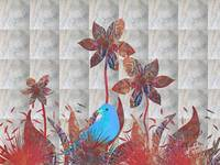 Flowers And Blue Bird