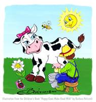 Daisy is milked by a farmer