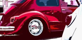 Red and White VW Beetles Pano