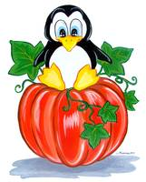 Penguin on a Pumpkin