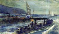 The German u-boat U 56 sunk by the Russian destroy
