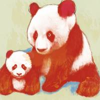 panda mum with baby stylised drawing art poster