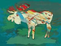 Moose - Wild Animal Stylised Pop Art Poster