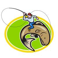 Fly Fisherman Riding Trout Fish Cartoon