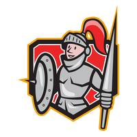 Knight Shield Lance Crest Cartoon