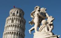 Statue and Leaning Tower of Pisa, Italy