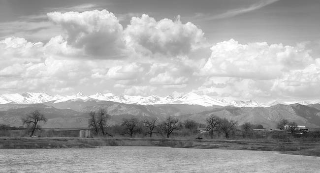 Colorado Front Range Rocky Mountains Panorama BW