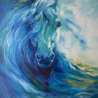 """BLUE GHOST OCEAN EQUINE"" by MBaldwinFineArt2006"