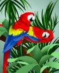Two Red Parrots by Pixel Paint Studio