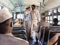 Jackie Robinson boarding an army bus