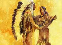 Sacagawea greeting her brother