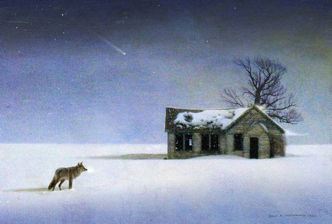 Cold Comfort Coyote And Winter Cabin By Rchristophervest 2013