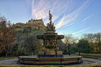 Sunrise Over Ross Fountain and Edinburgh Castle
