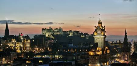 Balmoral Clocktower and Edinburgh Castle at Dusk