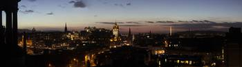 Nightfall over the City of Edinburgh, Scotland