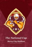 American Football National Cup Poster Art Retro