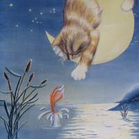 Cat'ching A Midnight Snack Art Prints & Posters by Billie Crain