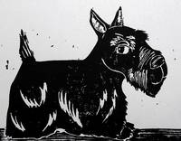 Scottie Dog Linocut Print Davidson
