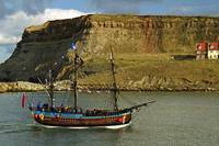 Bark Endeavour Passing Whitby East Cliff