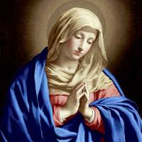"""Virgin Mary Praying with Folded Hands"" by catholicart"