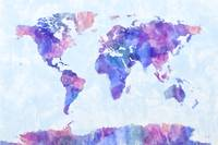 Map of the World Map Watercolor Painting