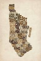 Manhattan New York Typography Text Map