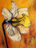 A Daffodil with orange sky