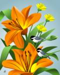 Chickadees Among Lilies Art