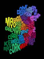 Ireland Eire County Text Map