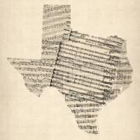 """""""Old Sheet Music Map of Texas"""" by ModernArtPrints"""