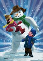 Children and Snowman playing together