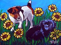 Jack Russell and Friend in Sunflowers