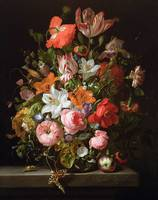Still life of roses, lilies, tulips and other flow