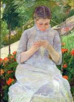 Young Woman Sewing in the garden, c.1880 82