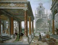 Cappricio of palace architecture with Figures Prom