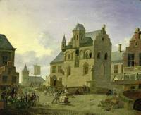 Town square with figures and peasants trading in a