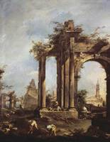 Capriccio with Roman Ruins, a Pyramid and Figures,