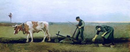 Labourer and Peasant Planting Potatoes, 1884