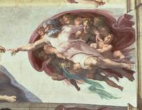 Sistine Chapel Ceiling: The Creation of Adam, deta
