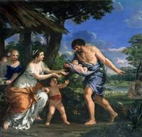 Faustulus entrusting Romulus and Remus to his wife