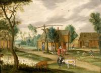 A village landscape with a woman drawing water fro