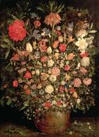 Large bouquet of flowers in a wooden tub, 1606-07,